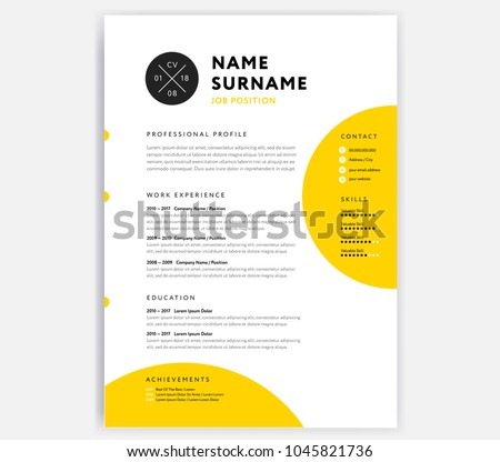 yellow cv resume template curriculum vitaeのベクター画像素材