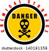 Yellow Danger Chemical Storage Sign - stock vector