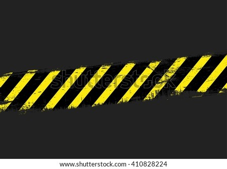 Yellow danger line on dark background. Stripes.