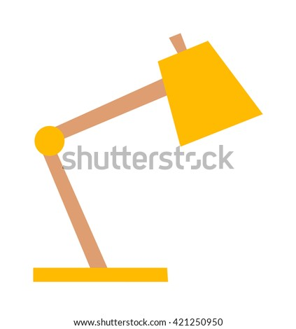 Yellow desk lamp isolated on white background. Yellow lamp vector and light yellow lamp power energy design. Yellow lamp electricity light electric object. Retro color illuminated metal interior lamp. - stock vector