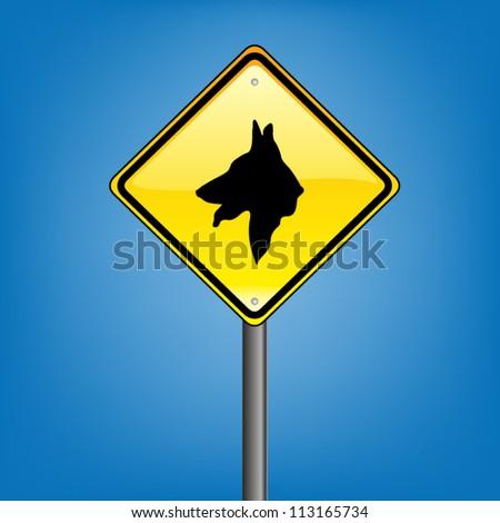 Yellow diamond hazard warning sign against blue sky - dog warning sign, vector version - stock vector