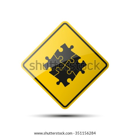 yellow diamond road sign with a black border and an image Puzzle. Abstract puzzle. puzzle icon eps10, puzzle icon illustration, puzzle icon picture, puzzle icon flat, puzzle web icon, puzzle icon art - stock vector