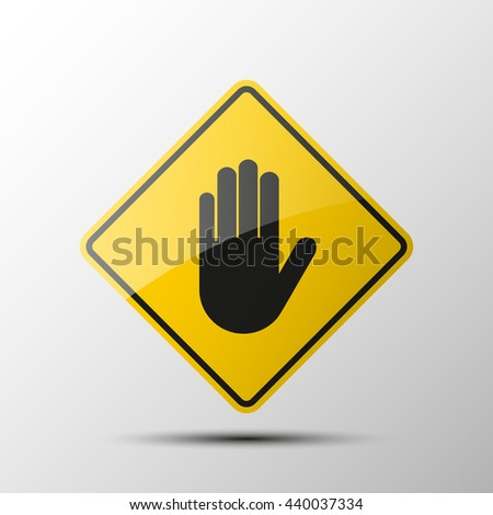 yellow diamond road sign with a black border and an image Stop hand Icon Vector on white background. Vector Illustration
