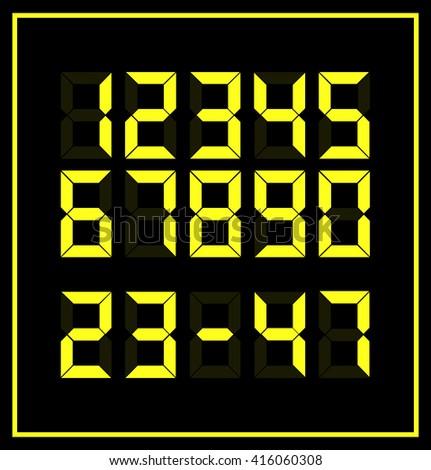 YELLOW DIGITAL NUMBERS. VECTOR - stock vector