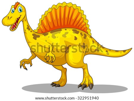 Yellow dinosaur with sharp claws illustration - stock vector