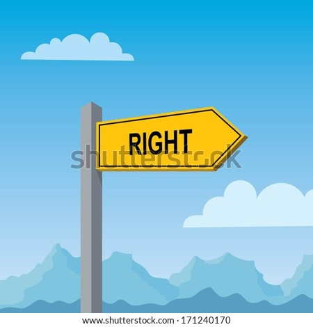 yellow direction sign pointing right  - stock vector