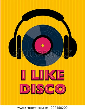 yellow disco poster - stock vector