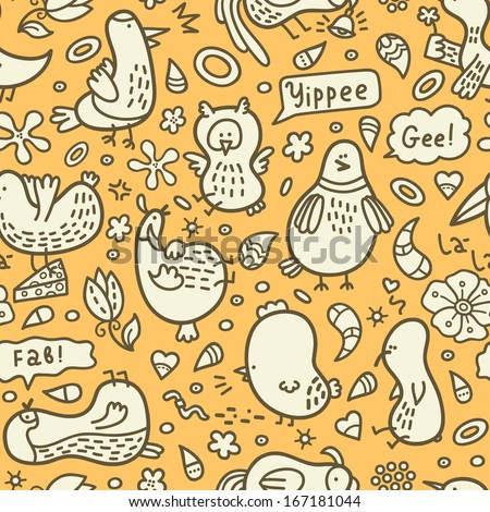 yellow doodle birds pattern. Vector doodle seamless birds pattern with some their habits - stock vector