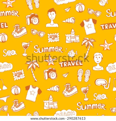 yellow doodle travel vector seamless pattern
