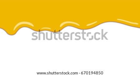 Yellow drips on white back. Lemon jelly or honey drops vector. Seamless horizontal background. Cartoon style