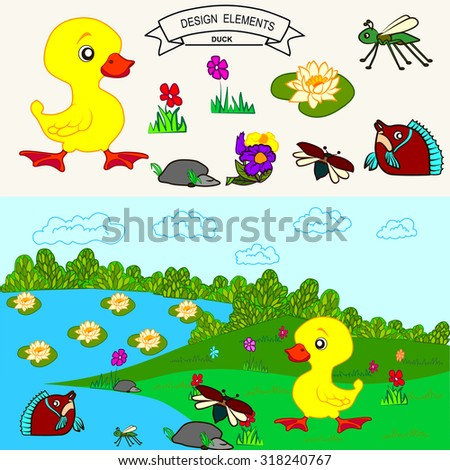Yellow duck at field and fish in the lake Vector background