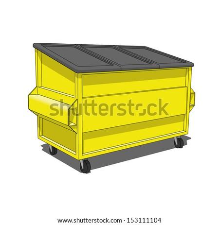 Yellow dumpster - stock vector
