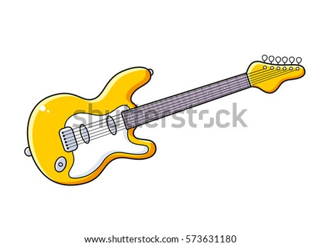 yellow electric guitar vector isolated stock photo photo vector rh shutterstock com electric guitar silhouette vector free electric guitar vector art