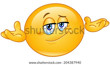 Yellow emoticon asking what's the problem, who cares, so what, I don't know - stock vector