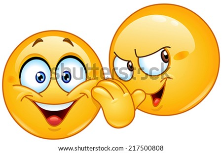 Yellow emoticon telling a secret to another emoticon - stock vector