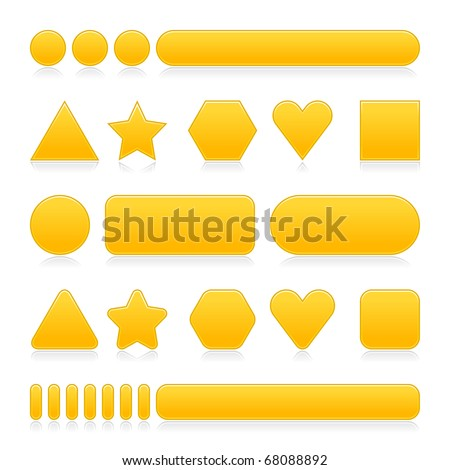 Yellow empty various forms web 2.0 buttons with reflection on white background - stock vector