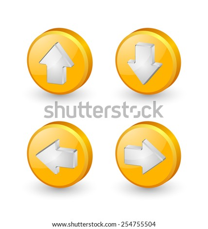 Yellow extruded three dimensional arrow icons on white background