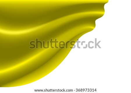 Yellow fabric flying on white background vector illustration.