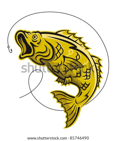 Yellow fish as a fishing symbol isolated on white background, such a logo. Rasterized version also available in gallery - stock vector