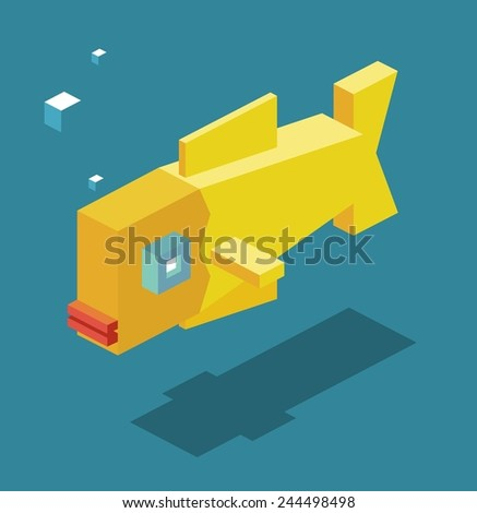 yellow fish. 3d pixelate isometric vector - stock vector