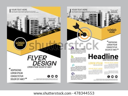 Yellow Flat Modern Brochure Layout Design Stock Photo Photo Vector