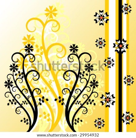 Yellow floral design - stock vector