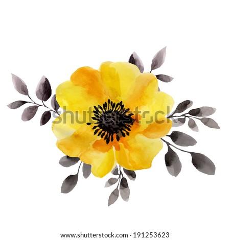 Yellow flower watercolor painting stok vektr 191253623 shutterstock yellow flower watercolor painting mightylinksfo