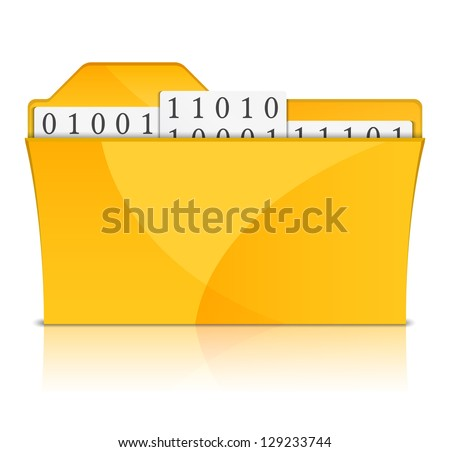 Yellow folder with files, vector eps10 illustration