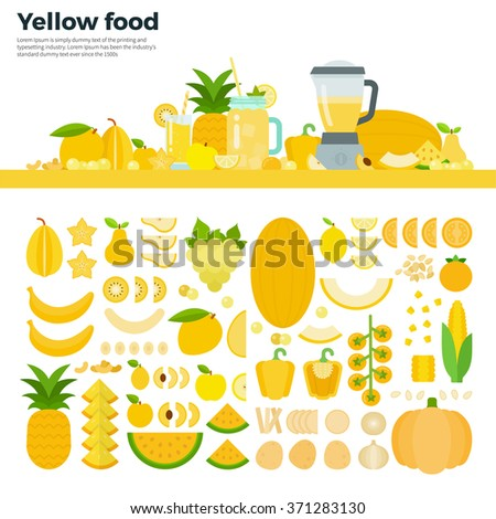 Yellow food vector flat illustrations. Yellow vegetables, fruits and blender on the table. Full of vitamins healthy eating concept. Yellow fruits and vegetables isolated on white background - stock vector