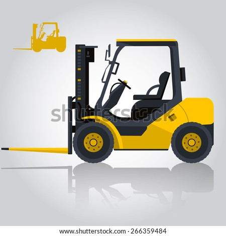 Yellow fork lift loader. Nice isolated illustration for banner, internet poster, etc. - stock vector