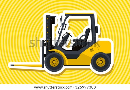 Yellow fork lift loader. Nice isolated vector. Carry of sand, coal, waste rock and gravel. Golden illustration for internet banner poster or icon. Truck Digger Crane Small Bagger Mix Roller Extravator - stock vector