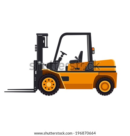 Yellow Forklift Loader Truck Isolated on White Background. Vector illustration - stock vector