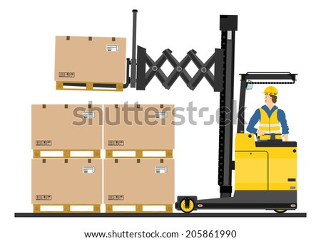 Yellow forklift (reach truck) on a white background. Vector  - stock vector