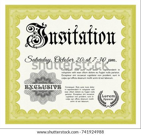 Yellow invitation money style design quality stock vector 744805363 yellow formal invitation vector illustration printer friendly money pattern design stopboris Images
