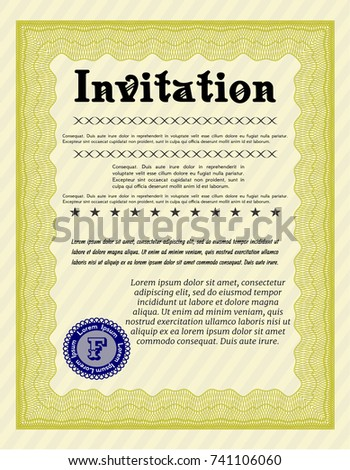Yellow formal invitation vector illustration great stock vector yellow formal invitation vector illustration with great quality guilloche pattern sophisticated design stopboris Gallery