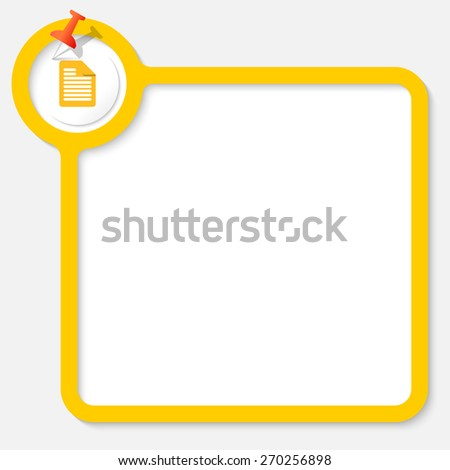Yellow frame for your text and document icon - stock vector