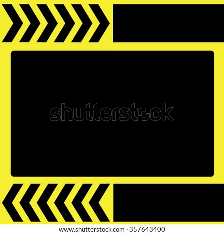 yellow frame with striped traffic arrow-vector