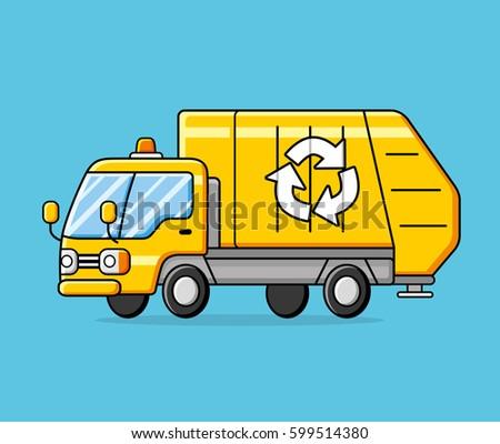 Vector Cartoon Semi Truck Oneclick Repaint Stock Vector