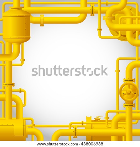 Yellow gas pipes. Industrial frame and background with pipes. Vector Illustration - stock vector