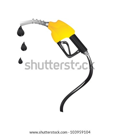 yellow gasoline fuel with drops over white background. vector - stock vector
