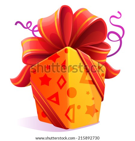 yellow gift with a red ribbon and a bow - stock vector