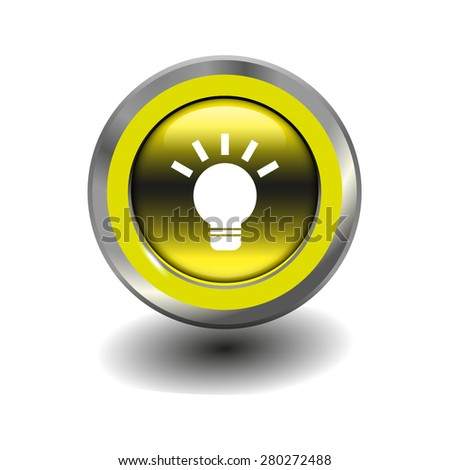 Yellow glossy button with metallic elements and white icon light bulb, vector design for website - stock vector