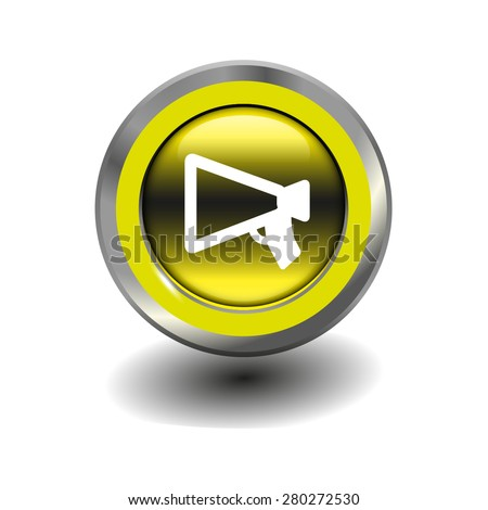 Yellow glossy button with metallic elements and white icon mouthpiece (announcing), vector design for website - stock vector