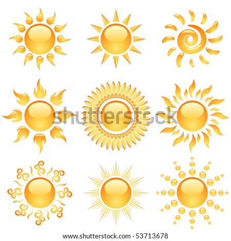 Yellow glossy sun icons collection isolated on white. - stock vector