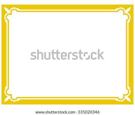 Yellow Gold Border Frame Deco Vector Vector de stock335020346 ...