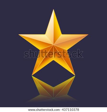 yellow gold shining star on dark background - stock vector