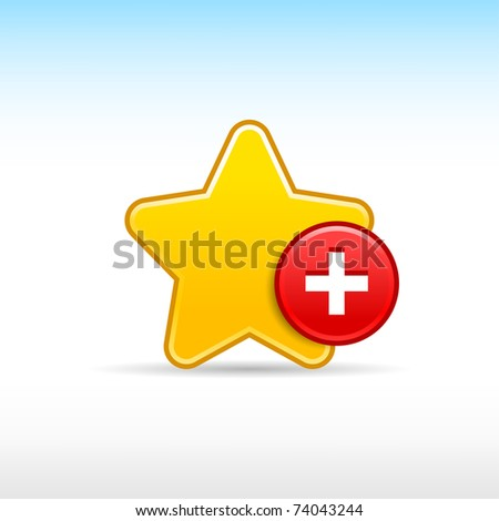Yellow gold star favorite web 2.0 icon with red button plus and shadow on white - stock vector