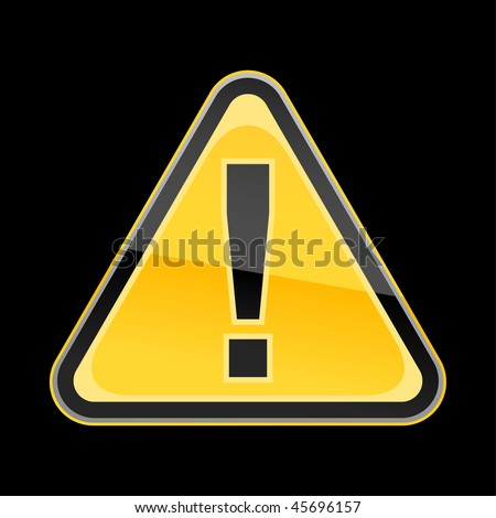 Yellow golden attention hazard warning sign with exclamation mark symbol on black background - stock vector