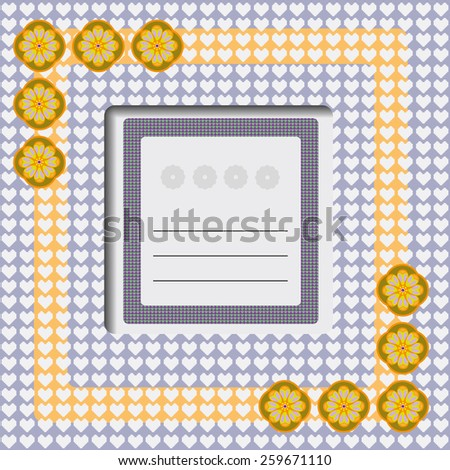 Yellow, gray greeting card. With love. Lots of hearts and flowers. Digital background vector illustration.  - stock vector