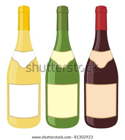 Yellow, green and red wine bottle illustration on white background.